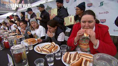 Melbourne man devours 15 hot dogs in ten minutes