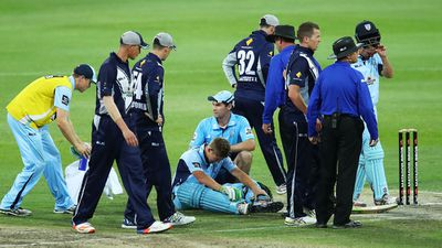NSW batsman Daniel Hughes struck on helmet