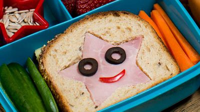 Star Kid lunch box (ham and cheese sandwich with fruit and veg)