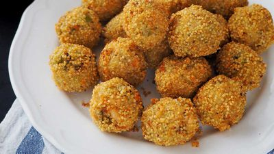 Gluten free salmon and broccoli arancini