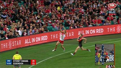 AFL: Commentary team shocked by failure to call out of bounds kick