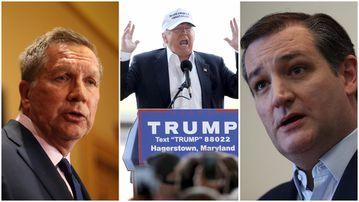 John Kasich, Donald Trump and Ted Cruz. (Getty)