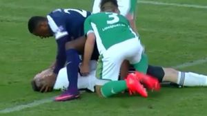 Striker saves opposition keeper from swallowing own tongue