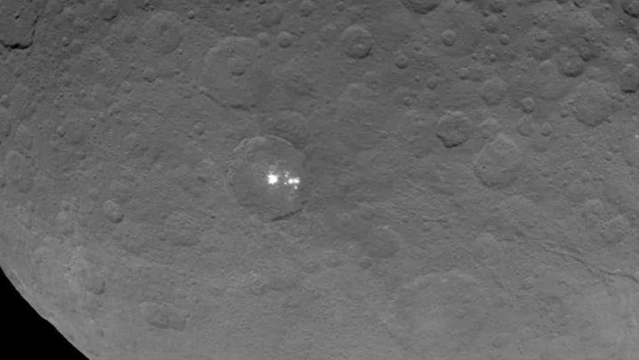 The bright white spots on dwarf planet Ceres. (NASA/JPL)