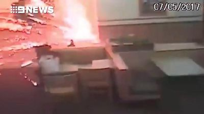 Arsonist throws firework into fast food restaurant