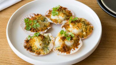 The Tillbury Hotel's baked queen scallops, cauliflower, brioche and herb crust