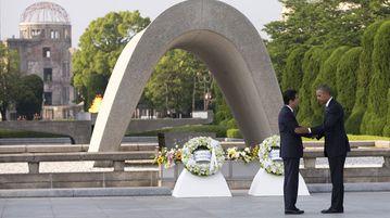 Historic meeting ... US President Barack Obama meets Japan's Shinzo Abe at the Peace Memorial Park in Hiroshima. (AAP)
