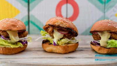 Tom Walton's lamb karaage sliders with wasabi mayo, shredded cabbage and radish