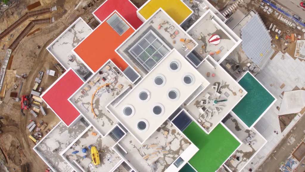 Lego house opening drone footage