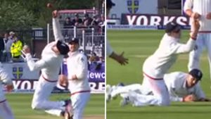 English fielders combine for classic slips catch