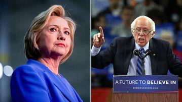Hillary Clinton and Bernie Sanders. (AAP)