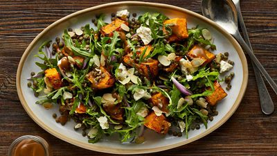 Warm roast pumpkin and lentil salad