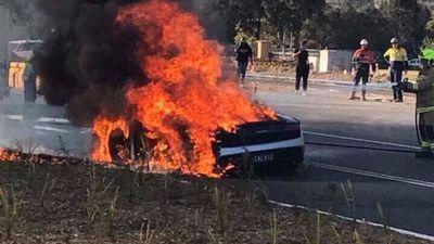 Luxury Lamborghini supercar bursts into flames