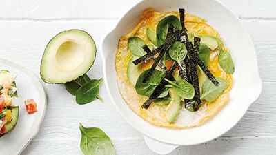 Dr Libby Weavers omelettes with avocado and leafy greens