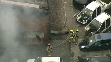 Fire has engulfed a car yard in Canley Vale. (9NEWS)