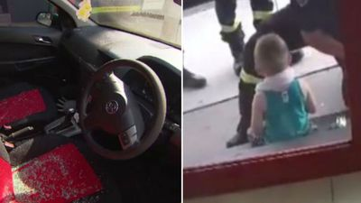 Police break into hot car to rescue boy as 'dad was at pub'