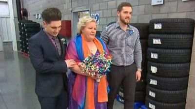 Bride walks down the tyre aisle for dream Costco wedding