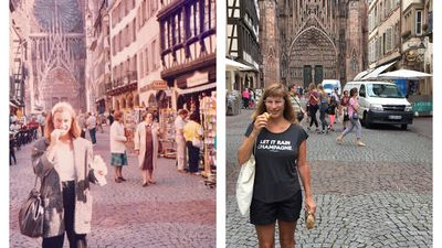 Woman returns to Europe after 30 years to recreate her vintage photographs