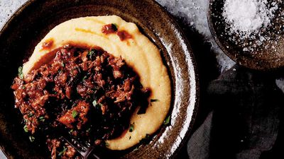 Sticky oxtail stew with creamy polenta