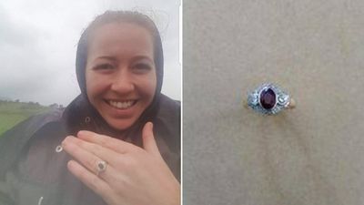 Woman 'thrilled' after strangers find wedding ring lost in Simpson Desert