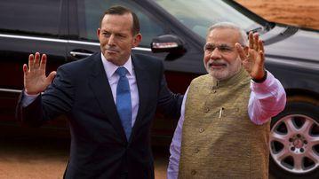 Australian Prime Minister Tony Abbott and his Indian counterpart Narendra Modi. (AP Photo/Saurabh Das)