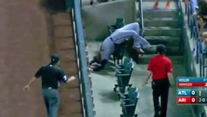MLB player risks neck for foul ball