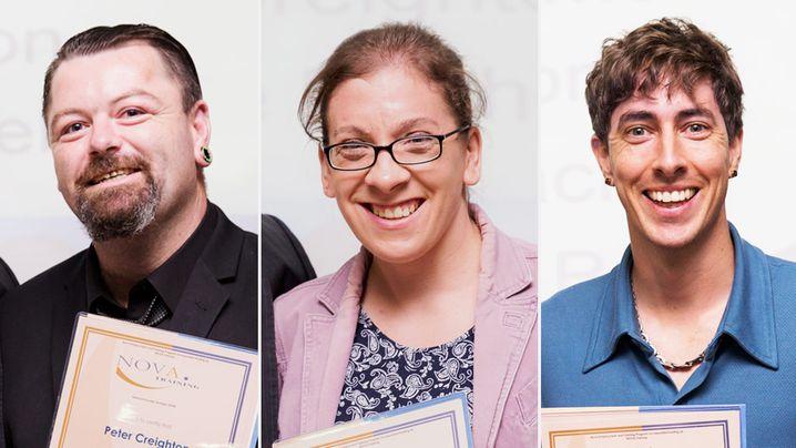 Employment Enablement Program graduates, Peter Creighton, 27, Phoebe Mitchell, 28 and Digby Dorigo, 32. (Nova Employment)