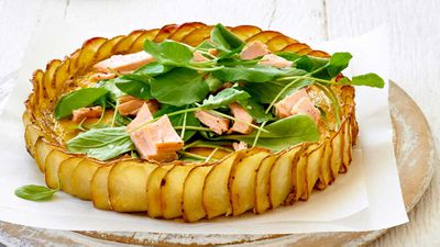 Crispy potato, salmon and herb quiche