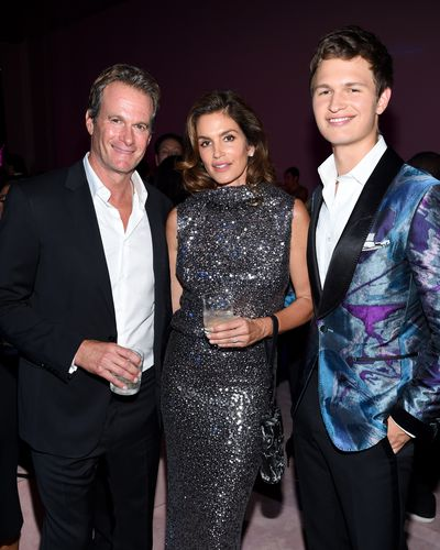 Rande Gerber, Cindy Crawford in Tom Ford and Ansel Elgort at the 'F**cking Fabulous' party at New York Fashion Week, September 2017