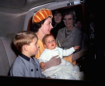 Queen with sons Prince Andrew and Prince Edward, October 1964
