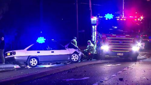 The Holden Commodore police had been chasing earlier. (9NEWS)