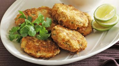 """Recipe: <a href=""""http://kitchen.nine.com.au/2016/05/18/01/17/salmon-cakes-with-chilli-salt-chips"""" target=""""_top"""">Salmon cakes with chilli salt chips</a>"""