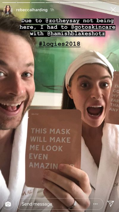 Comedian Hamish Blake and Rebecca Harding test out Blake's wife Zoe's go-to skincare masks for a last-minute skin boost