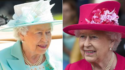 <p>The Queen chose a light blue get-up for Ladies Day (left) and opened the event on day one in bright pink (right). (AAP) </p>