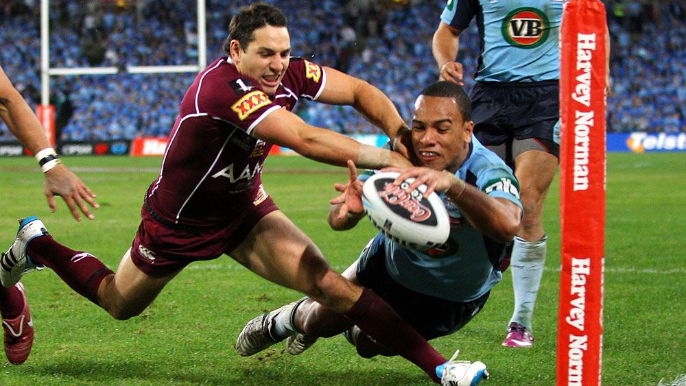 Will Hopoate scores a try for NSW. (Getty)