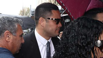 Jarryd Hayne outside Newcastle Local Court yesterday.