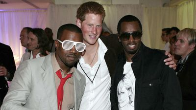 Prince Harry with Kanye West and P. Diddy