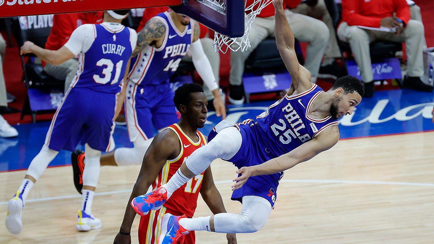 Ben Simmons dunks against Atlanta