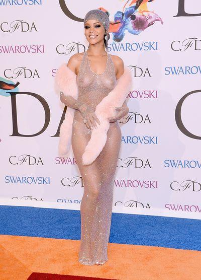 Rihanna in a Swarvoski -encrustedAdam Selman gown in 2014