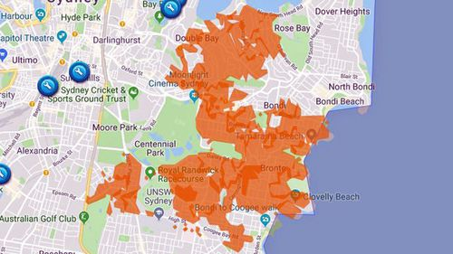 More than 45,000 people lost power shortly after 11.30am this morning in the city's eastern suburbs.