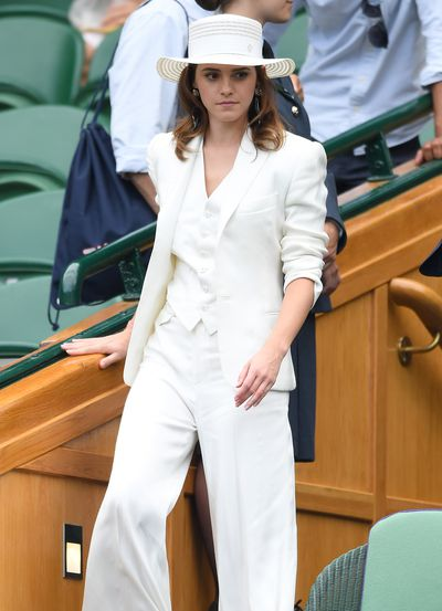 Emma Watson in a Ralph Lauren three-piece suit at Wimbledon, July, 2018