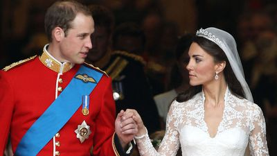 The Duchess of Cambridge wearing a tiara on her wedding day