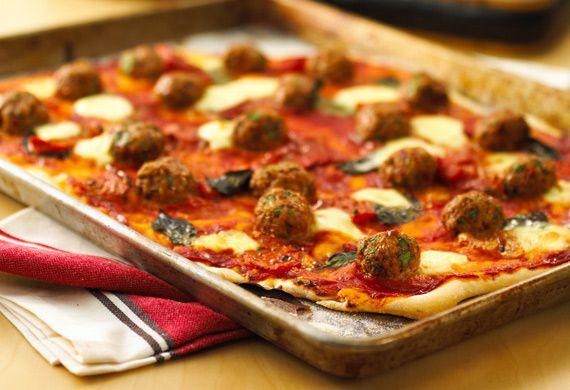 Italian meatball pizza with baby boconcini