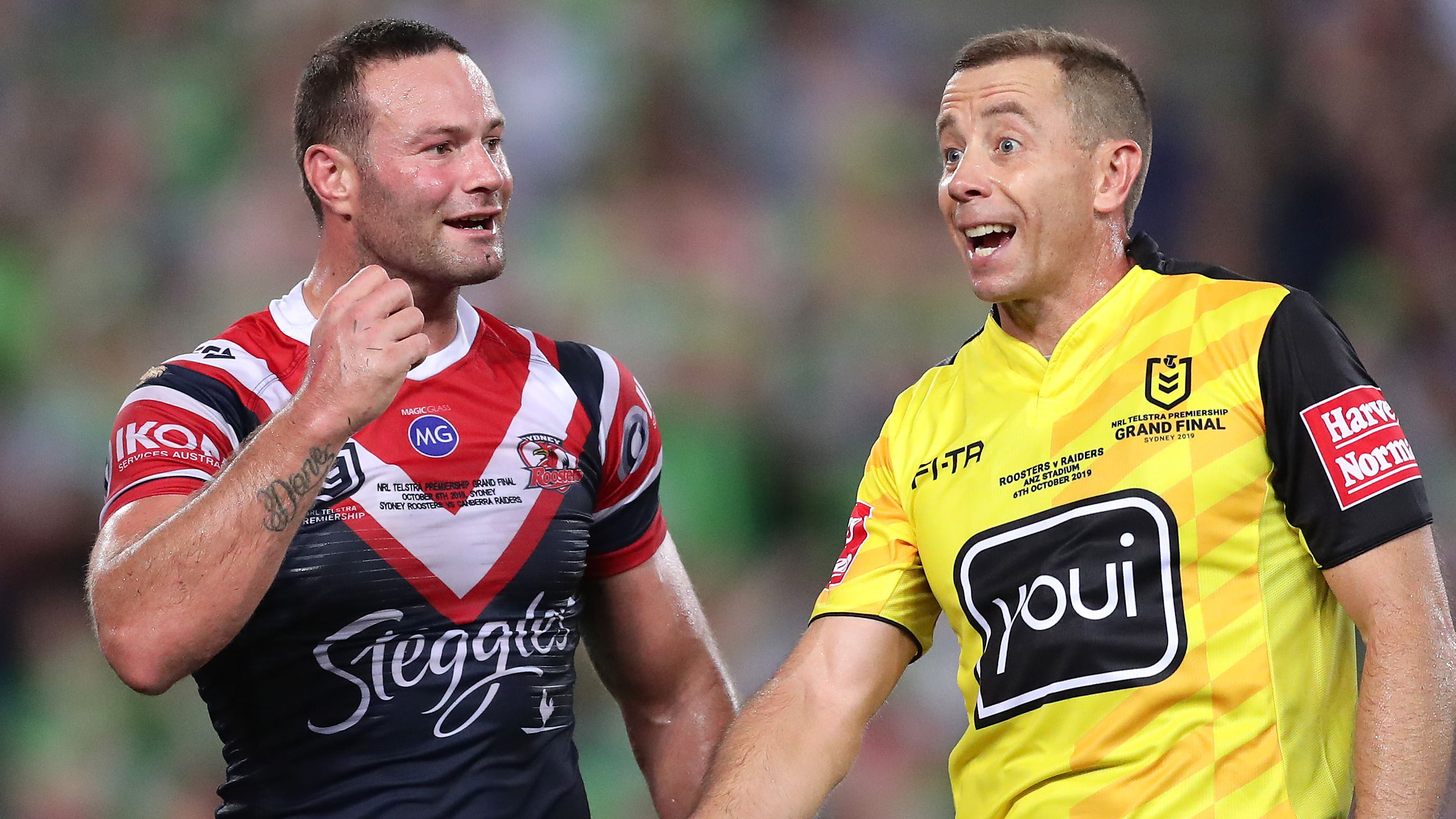 Boyd Cordner challenges referee Ben Cummins over a call in the 2019 grand final.