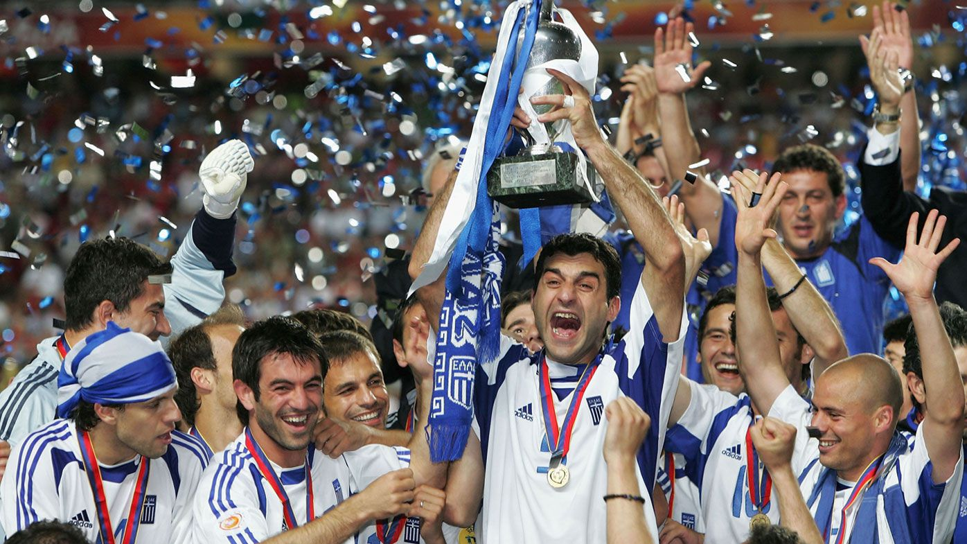 Greece celebrate after claiming the Euro 2004 title against Portugal.
