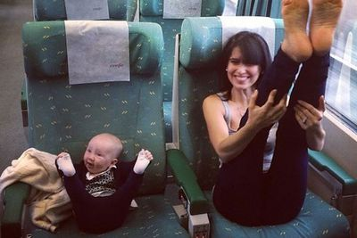Naww! There is nothing cuter than Hilaria's train yoga with bub in tow.