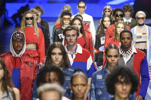 Jeremy took to the catwalk like a duck to water, appearing here for Tommy Hilfiger in February. Picture: AP