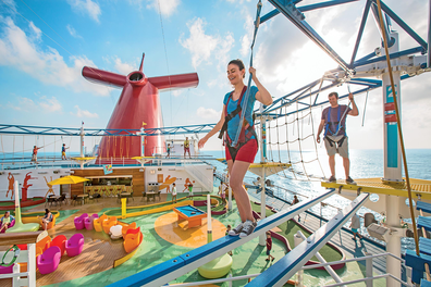 Carnival Cruise Line plank walk activity