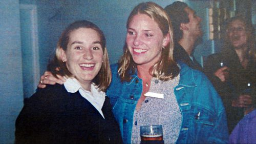 Lane (left) pictured in August 1996, the month before she gave birth to Tegan.