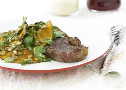 Sirloin steak with roasted pumpkin